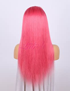 Lab Hair Pink Color Straight 14-24inch Lace Front Wigs 150% Density 100%