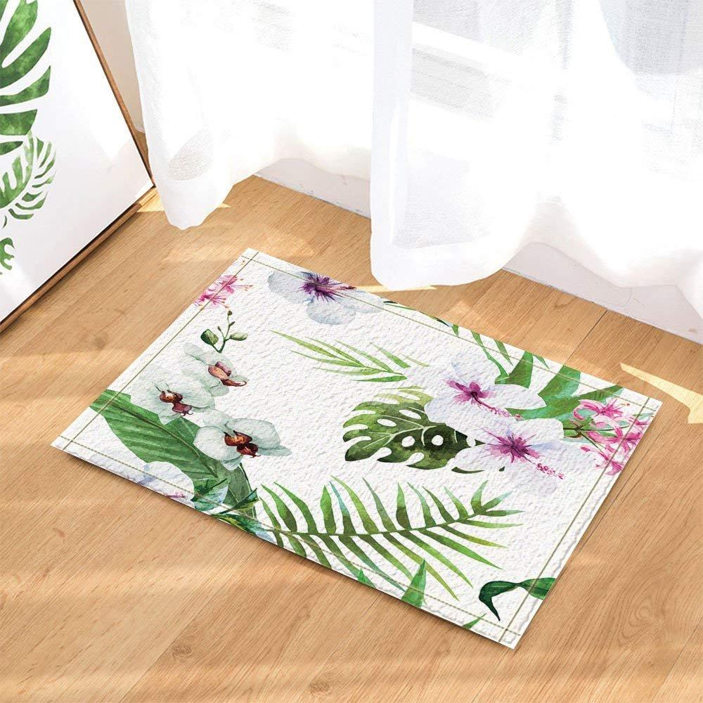 Tropical Floral Decor Hibiscus Flower with Banana Leaves in Palm Tree Bath Rugs Non-Slip Doormat Floor Entryways Indoor Front Door Mat Kids Bath Mat 15.7x23.6in Bathroom Accessories