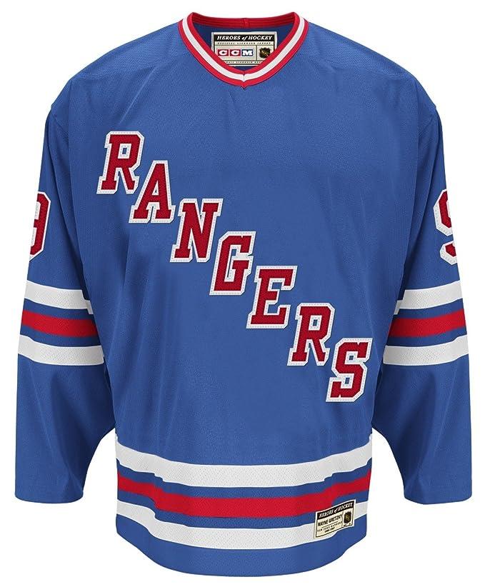 64c9152fbea Amazon.com : CCM New York Rangers Wayne Gretzky Authentic Heroes of Hockey  Jersey : Sports & Outdoors