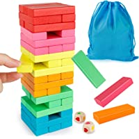 Coogam Wooden Blocks Stacking Game with Storage Bag, Toppling Colorful Tower Building Blocks Balancing Puzzles Toys Learning Educational Sorting Family Games Montessori Toys Gifts for Kids Toddlers
