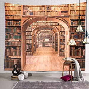 Library Bookshelf Tapestry Books Bookcase Wall Hanging Decor Indian Mandala Bohemian Hippie Trippy Large Tapestry for Bedroom Living Room Dorm(80x60 Inch)