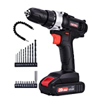 TOOI TOOL 20V Max Cordless Drill, Power Drill/Driver Tool Kit with Lithium Ion Battery/Charger, 3/8-Inch Keyless Chuck, Variable Speed, 335 In-lbs Torque, 18+1 Clutch, 21-Piece Accessories