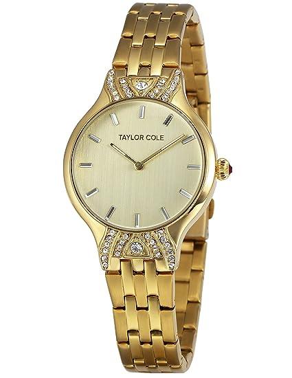 Taylor Cole TC093 - Reloj Mujer Cuarzo Japonés de Acero Inoxidable Dorado Oro: Amazon.es: Relojes