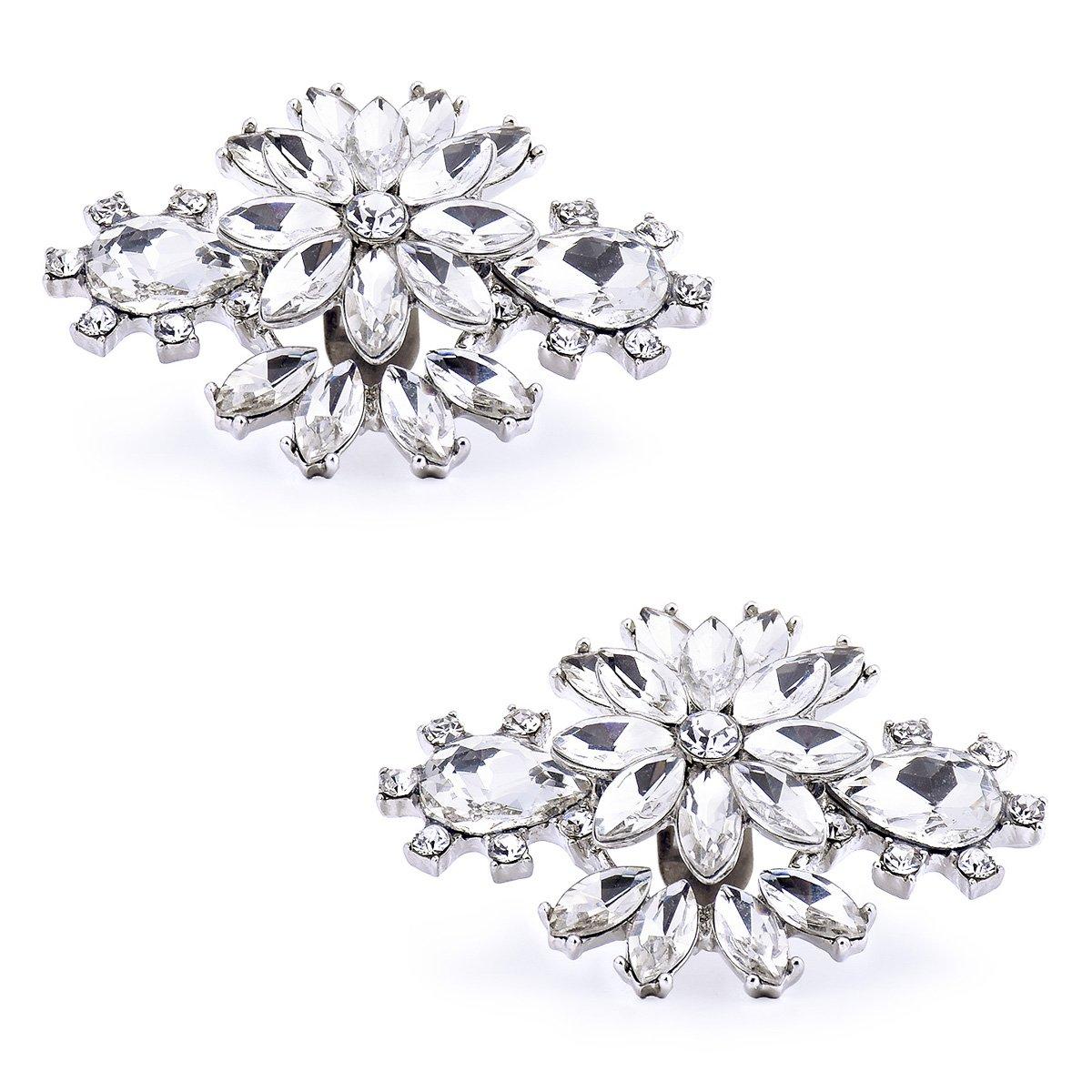 ElegantPark AK Wedding Dress Clutch Double Rhinestones Flowers Silver Shoe Clips 2 Pcs