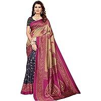 KANCHNAR Women's Poly Silk Half Half Printed Saree with Blouse Piece
