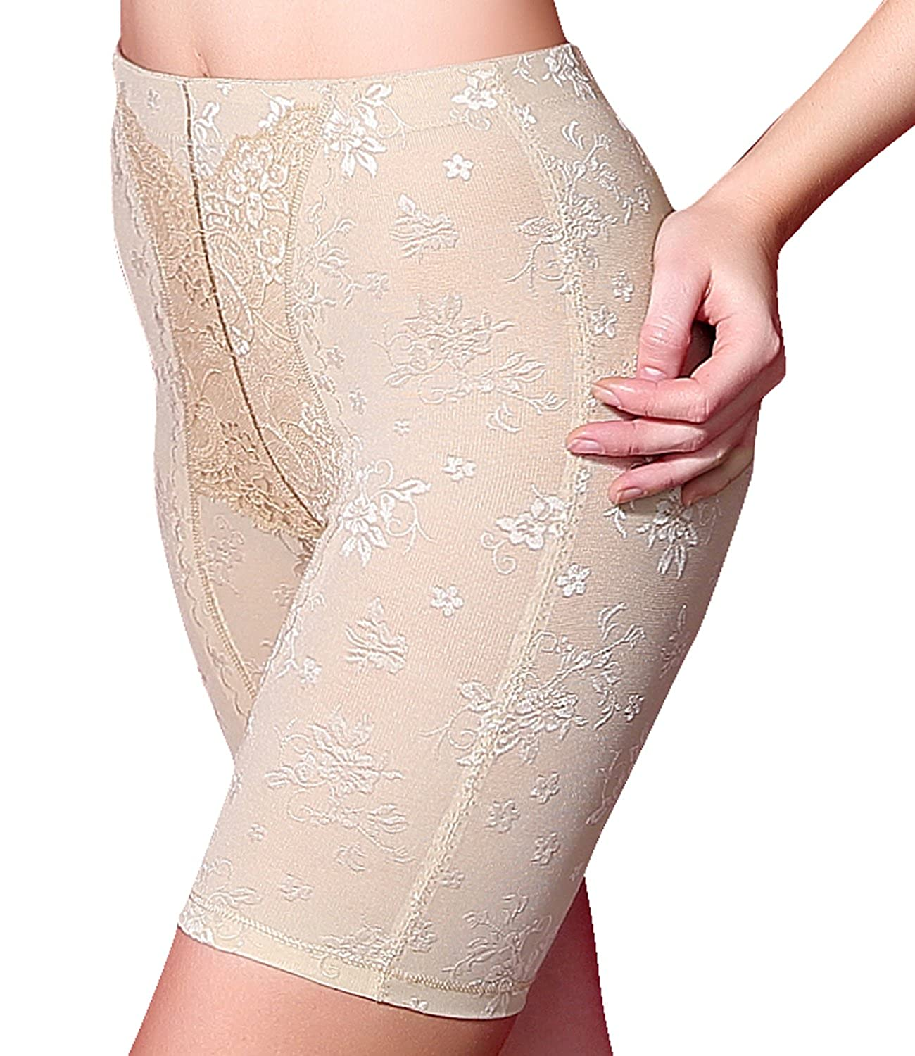 Junlan Women's Smooth Lace Shapewear High-Waist Thigh Slimmer Shorts