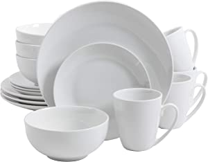 Gibson Home 92888.16RM Zen Buffet Dinnerware set, Service for 4 (16pcs), White (Coupe)