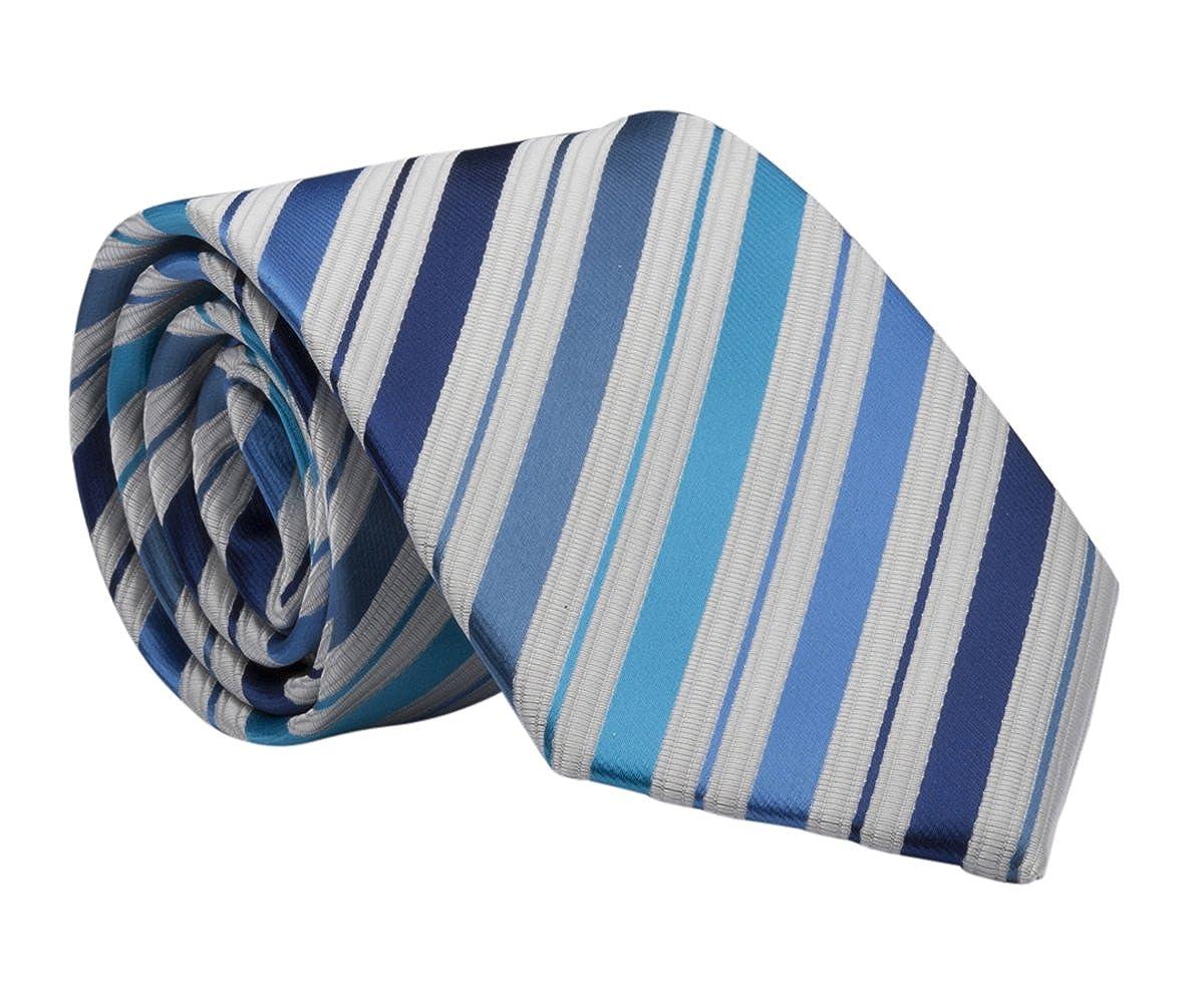 Boys Classic Blue Stripe Tie, Youth 45 inch BT-Blue Stripe
