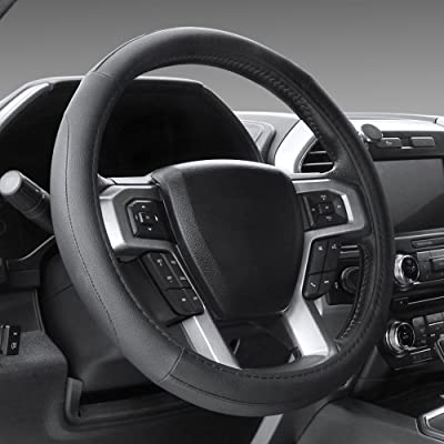 SEG Direct Black Microfiber Leather Steering Wheel Cover