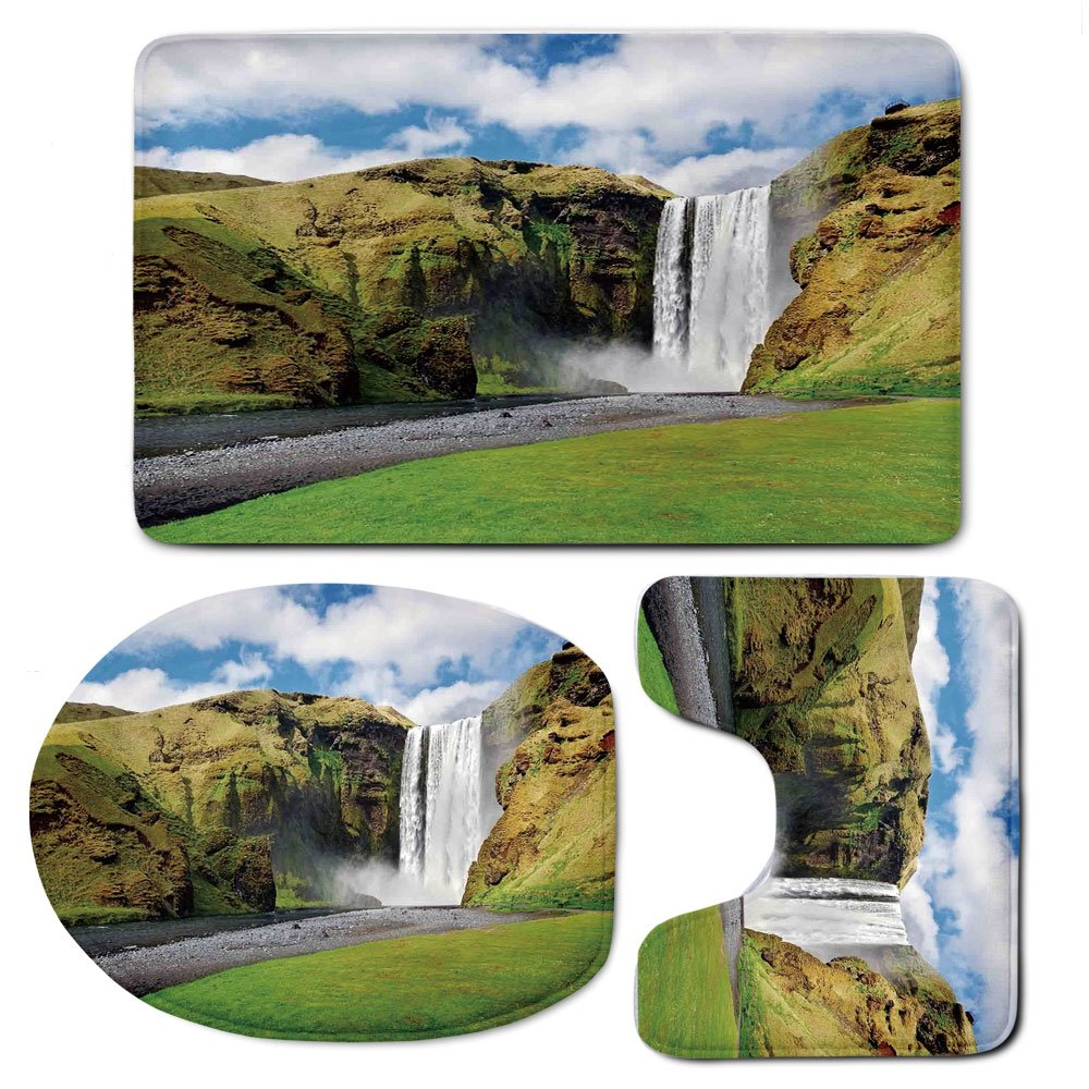 3 Piece Bath Mat Rug Set,Waterfall,Bathroom Non-Slip Floor Mat,Waterfall-Flowing-Over-High-Cliffs-Northern-America-Scenic-Nature-Photo,Pedestal Rug + Lid Toilet Cover + Bath Mat,Green-Blue-White