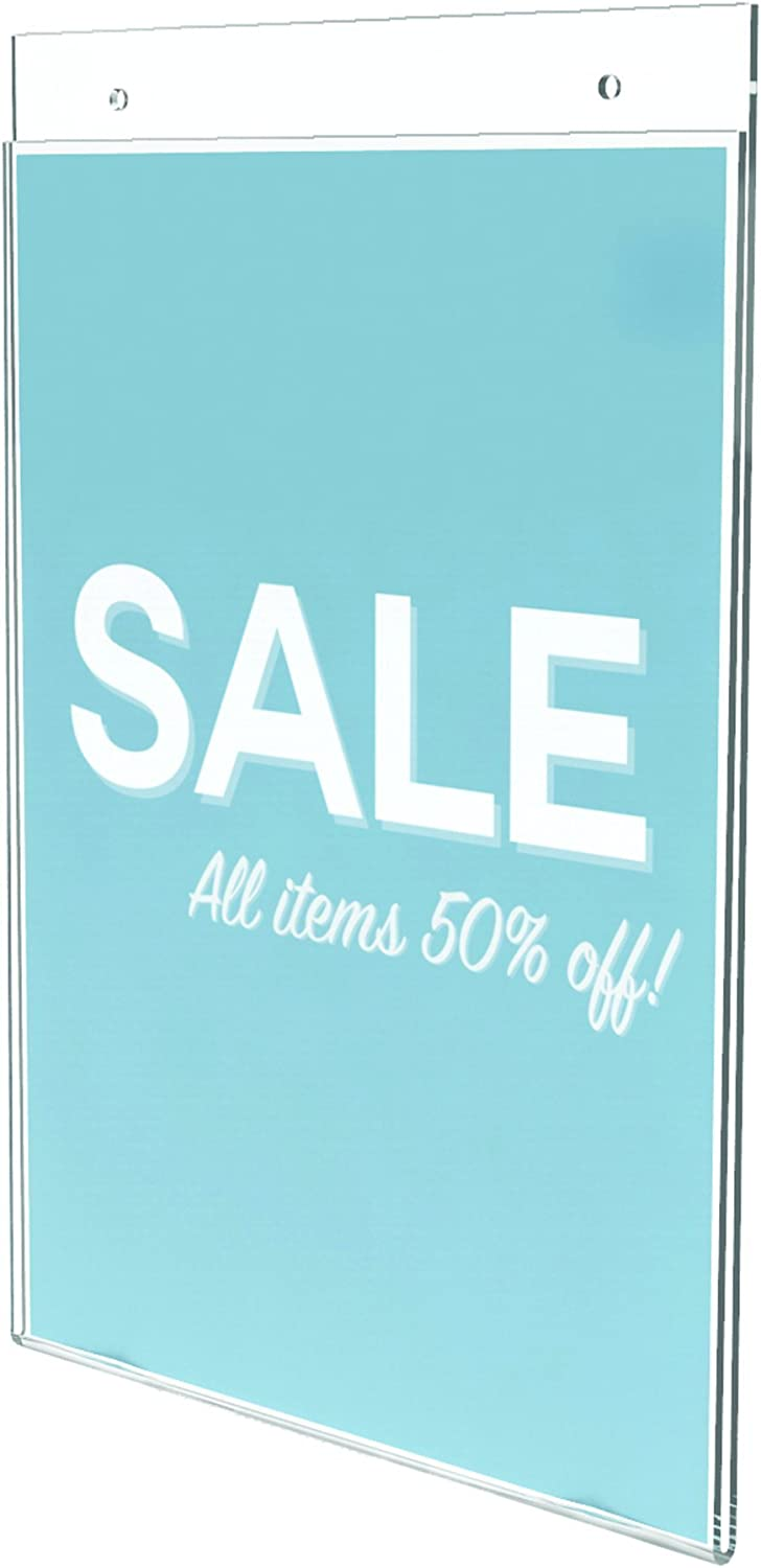 8.5 x 11 Deflecto Classic Image Wall Mount Sign Holder 68201 Clear Vertical Single-Sided