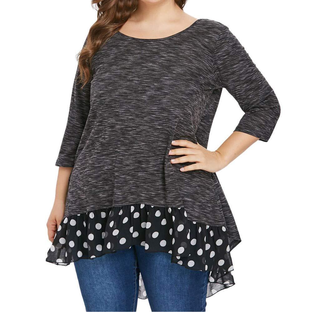 YANG-YI Plus Size Winter O-Neck 3/4 Sleeve Polka Dot Asymmetric Patchwork BlouseBy