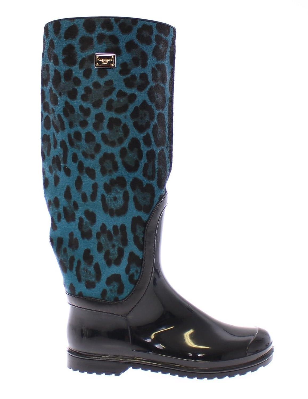 DOLCE & GABBANA Woman's Blue Leopard Print Calf Hair Logo Rubber Rainboots Boots 6