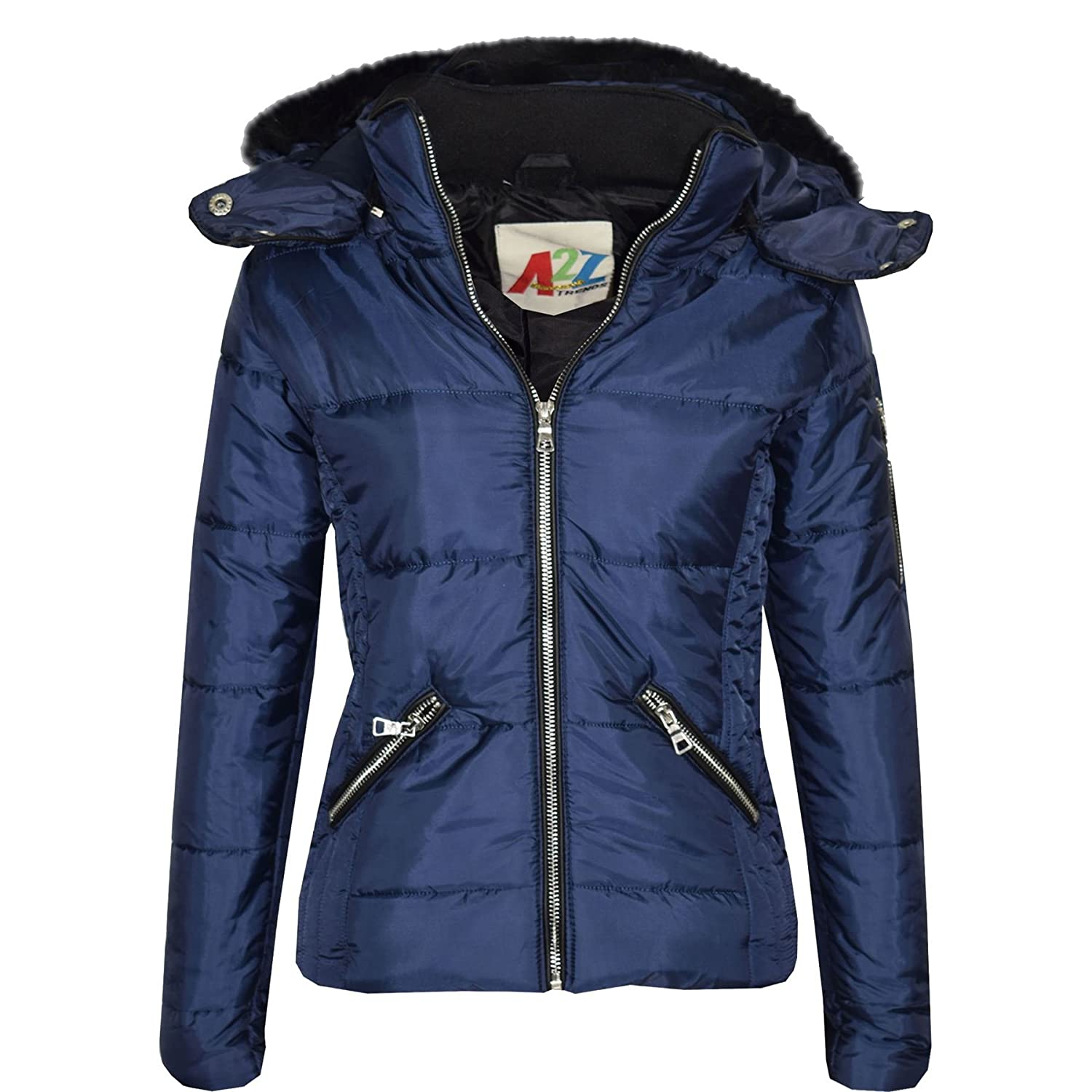 A2Z 4 Kids® Girls Jacket Kids Navy Stylish Cropped Padded Puffer Bubble Fur Collar Quilted Warm Thick Coat Jackets Age 3 4 5 6 7 8 9 10 11 12 13 Years