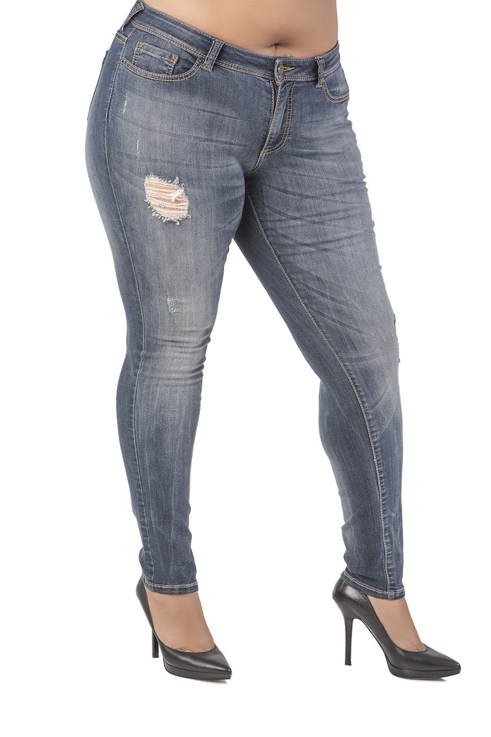Poetic Justice Plus Size Women's Curvy Fit Blue Vintage Wash Destroyed Skinny Jeans Size 20 x 32Length