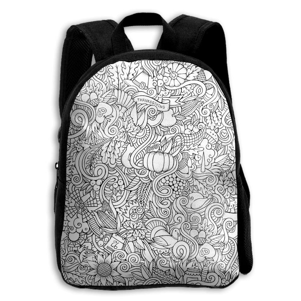 fidaljf Cartoon手描き風Doodle子供の3dプリントファスナー付き旅行バッグ学校バックパック   B07DVGSP84