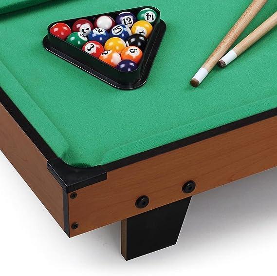 Bakaji - Carambola de billar de mesa con estructura de madera MDF natural bolas numeradas más una blanca tacos un triángulo y tiza para taco: Amazon.es: Deportes y aire libre