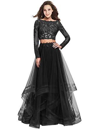 Jicjichos Women Applique Two Piece Long Sleeve Prom Dress Plus Size Long Evening Dress Black Size