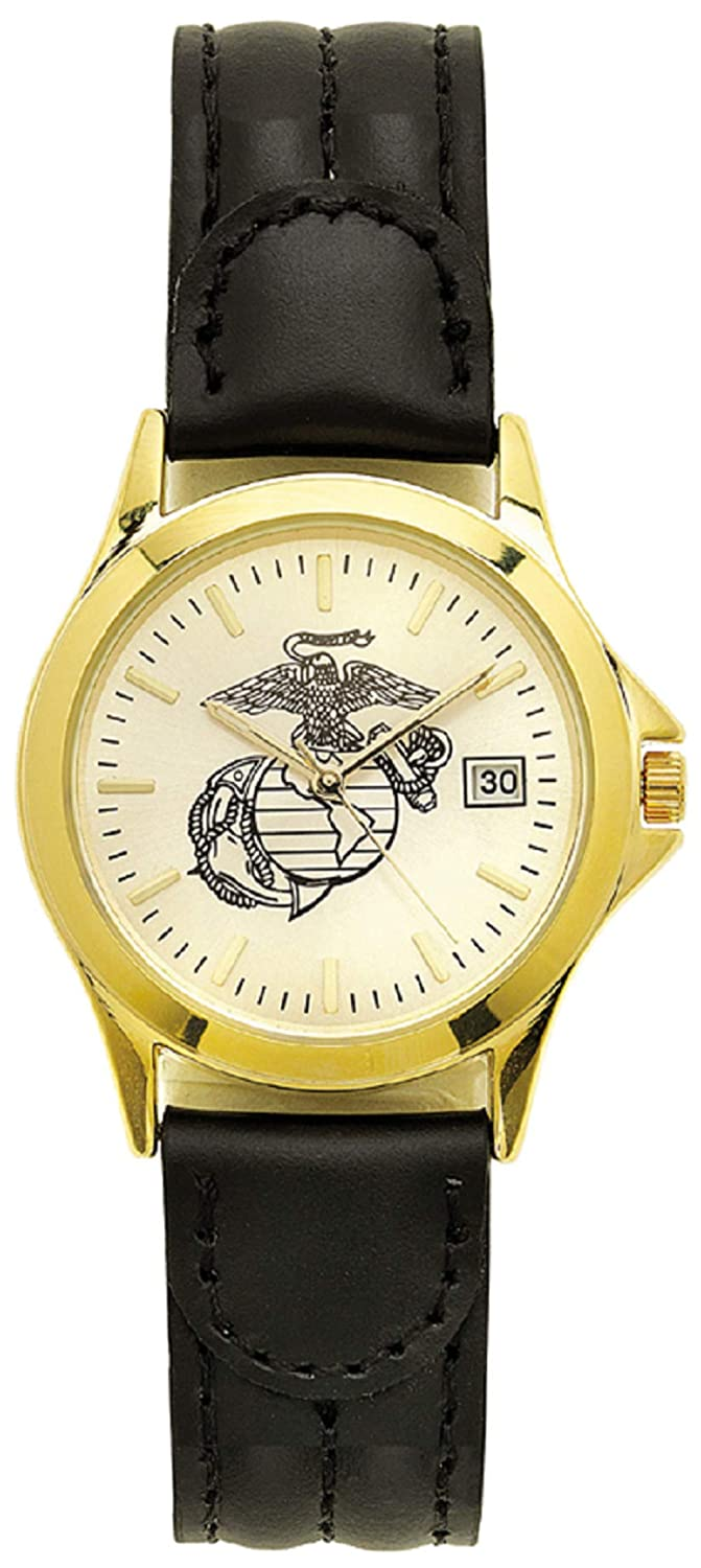 Aqua Force Marines Gold Brass Watch with 38mm Face and Padded Leather Strap