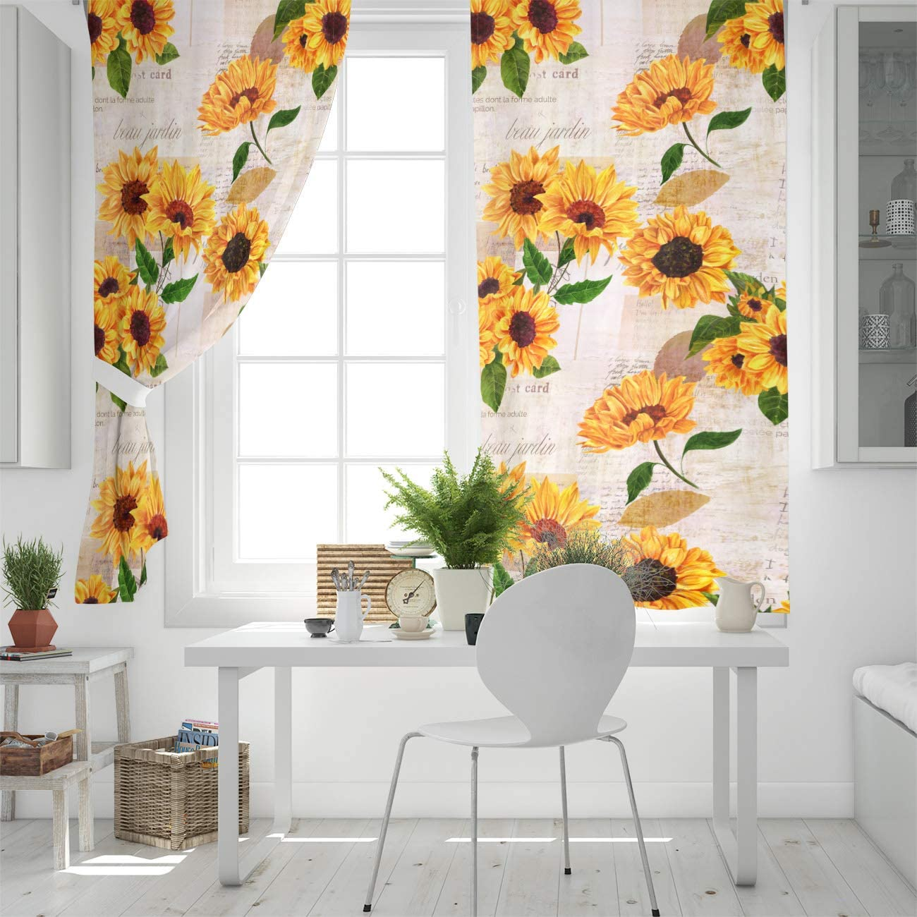 Home Kitchen T H Draperies Curtains Set Elegant Curtain By 2 Panels For Sliding Glass Door Patio Bedroom Living Room Sunflower With Newspaper Background Window 54 W