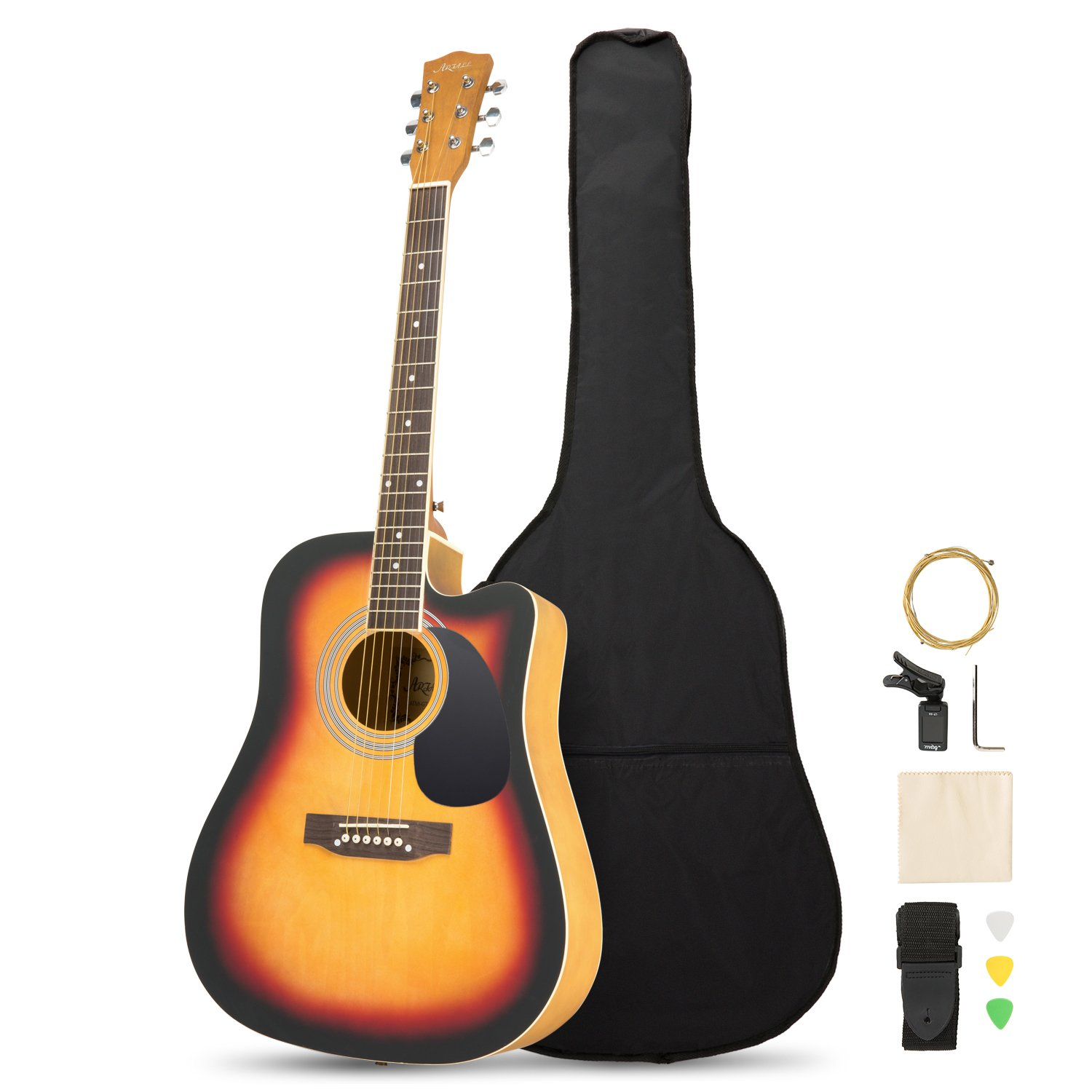 Artall 39 Inch Handmade Solid Wood Acoustic Cutaway Guitar Beginner Kit with Tuner, Strings, Picks, Strap, Matte Sunset