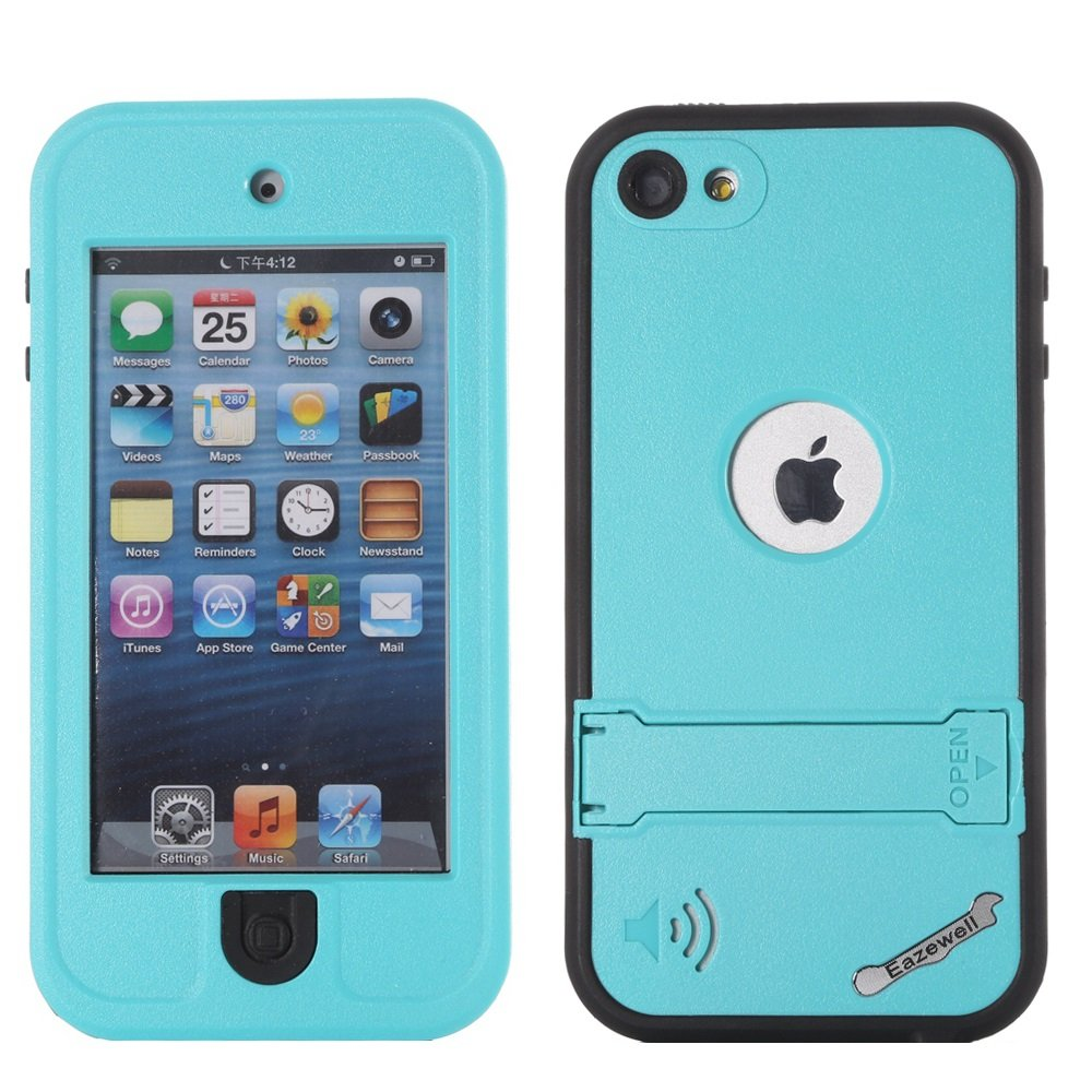 Eazewell iPod 5 iPod 6 Waterproof Case, Ultra Slim Water Resistant Skin Shockproof Snowproof Dirtproof Protective Cover Rugged Box with Kickstand for Apple iPod Touch 5th / 6th (Cyan)