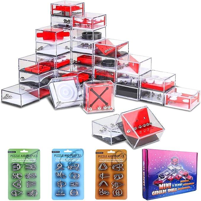 VenGo 24Pack Rompecabezas Metal + 24Pack Puzzles de Laberinto Juegos de Ingenio Puzzles 3D Calendario de Adviento para Niños y Adultos: Amazon.es: Juguetes y juegos