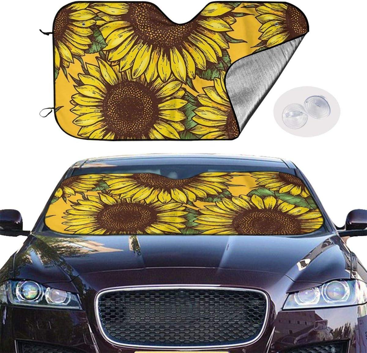 antfeagor Sunflower Light Car Windshield Sun Shade,Front Auto Car Windshield Sun Shade,Keep Vehicle Cool Protect Your Car from Sun Heat//Blocks Uv Rays