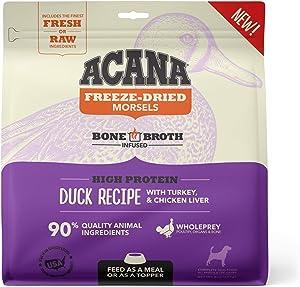 ACANA Grain Free High Protein Fresh & Raw Animal Ingredients Duck Recipe Freeze Dried Morsels Dog Food, 8 oz.