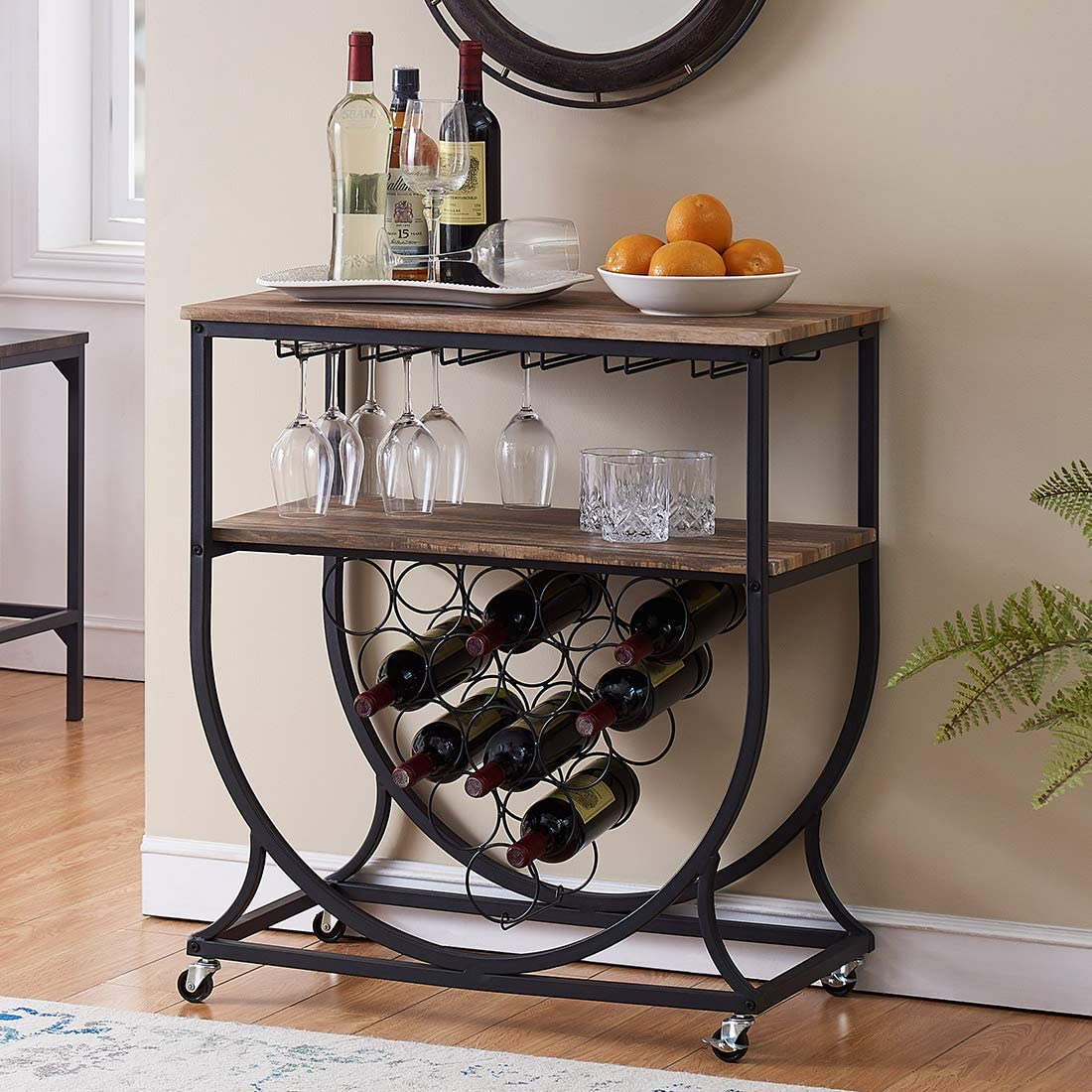 O K FURNITURE Industrial Bar Cart on Wheels for Home, Wine Rack Cart with Glass Holder, Vintage Brown