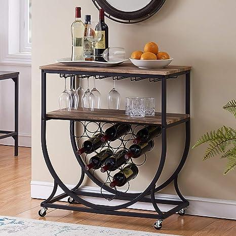 Amazon.com: O&K Furniture - Carrito de cocina industrial con ...