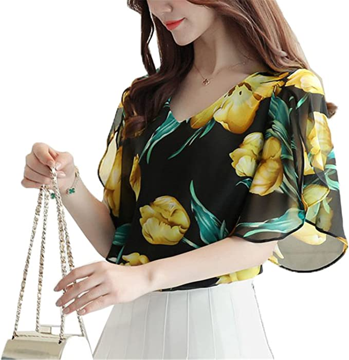 Women Chiffon Striped Print Tops Petal Sleeve Shirts Floral Estampado Blusas