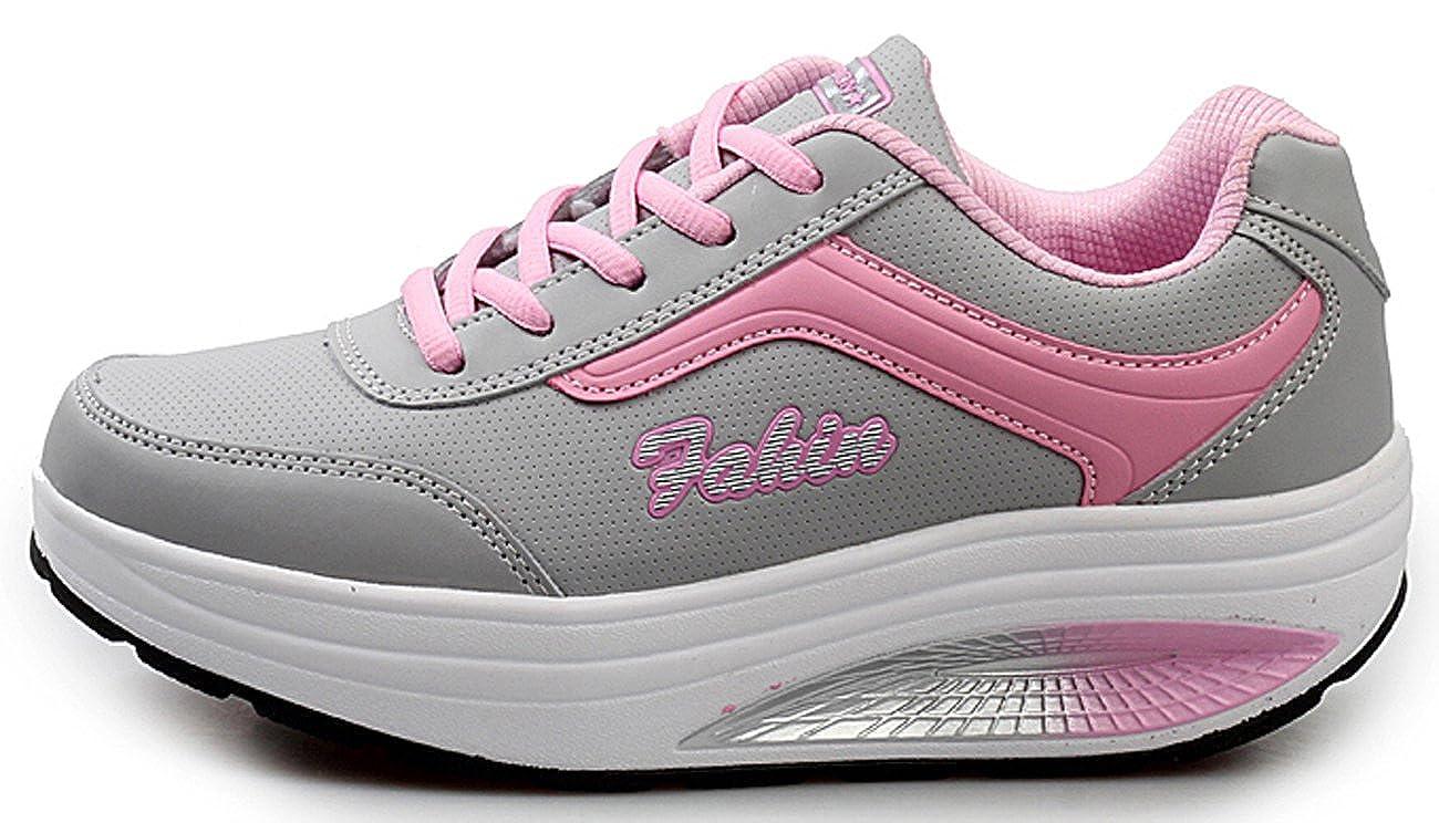 NEWCOLOR Mujeres Primavera Otoño Moda Transpirable con Cordones Zapatos De Balancín Zapatos Deportivos Ocasionales