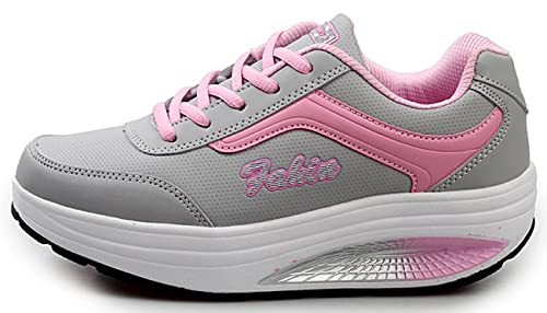NEWCOLOR Mujeres Primavera Otoño Moda Transpirable con Cordones Zapatos De Balancín Zapatos Deportivos Ocasionales: Amazon.es: Zapatos y complementos