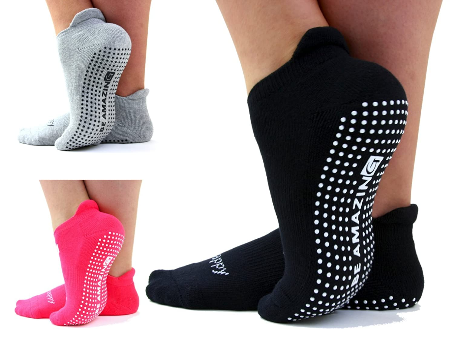 """Be Amazing"", Multi-Pack, Non Skid, Barre, Pilates, Yoga, Maternity Socks, Black, Gray, Pink, Non Slip, Grip Socks"