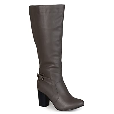 eaba492796f9 Journee Collection Womens Buckle Detail High-Heeled Boots Grey