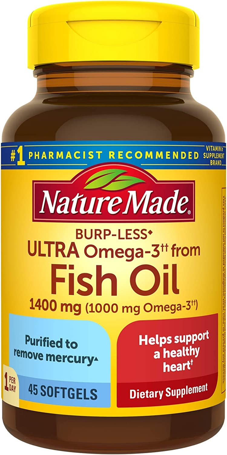Nature Made Burp-Less Ultra Omega-3†† from Fish Oil 1400 mg Softgels, 45 Count (Packaging May Vary)