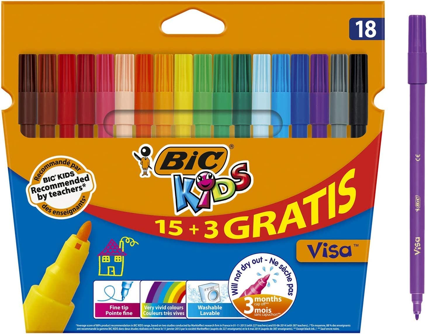 BIC Kids Visa Rotuladores Punta Fina - Colores Surtidos, Blíster de 18 Unidades: Amazon.es: Oficina y papelería