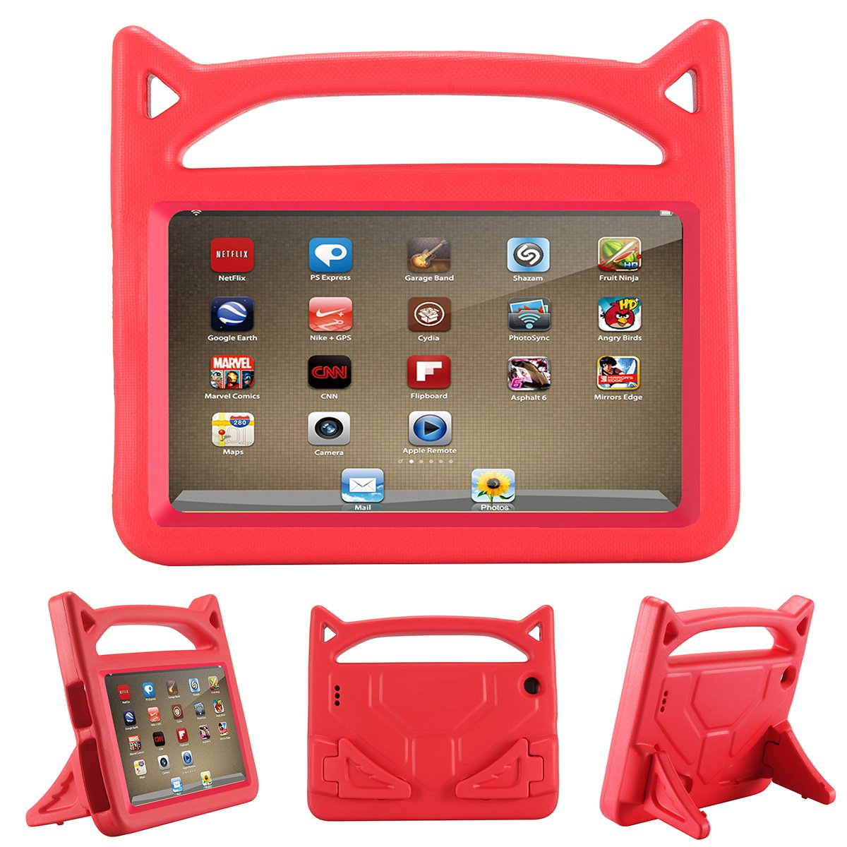 All-New Fire 7 2017 Case, Riaour Kids Shock Proof Protective Cover Case for Amazon Fire 7 Tablet (Compatible with 5th Generation 2015/7th Generation 2017) (Rose) Fire 7 7th Generation Kindle Fire 7 2017 7th Gen 4336301330