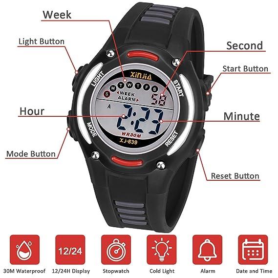 Reloj Digital para Niños Niña,Impermeabl Deportes al Aire Libre LED Multifuncionales Relojes de Pulsera con Alarma: Amazon.es: Relojes