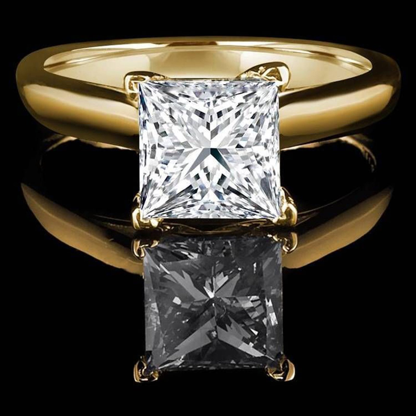 1.0 CT Princess brilliant Cut Simulated Diamond CZ Solitaire Bridal Promise Engagement Wedding Ring 14k Yellow Gold by Clara Pucci (Image #2)