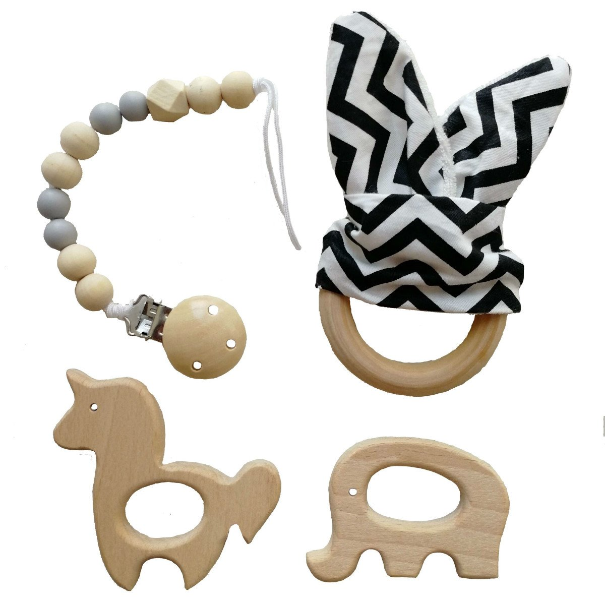 Amazon.com   Muhuyi 4 Pack Baby Teether Ring Natural Wooden Baby Teething  Toys and Pacifier Clip   Baby c0eacce02cc2