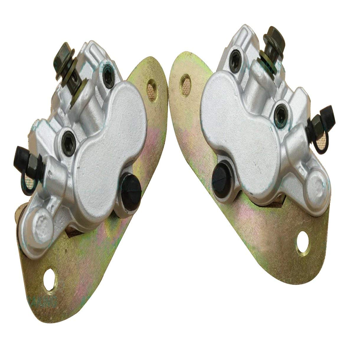 Amhousejoy Left /& Right Rear Brake Caliper Set for Yamaha UTV Rhino 700 YXR700 2008 2009 2010 2011 2012 2013 with Pads