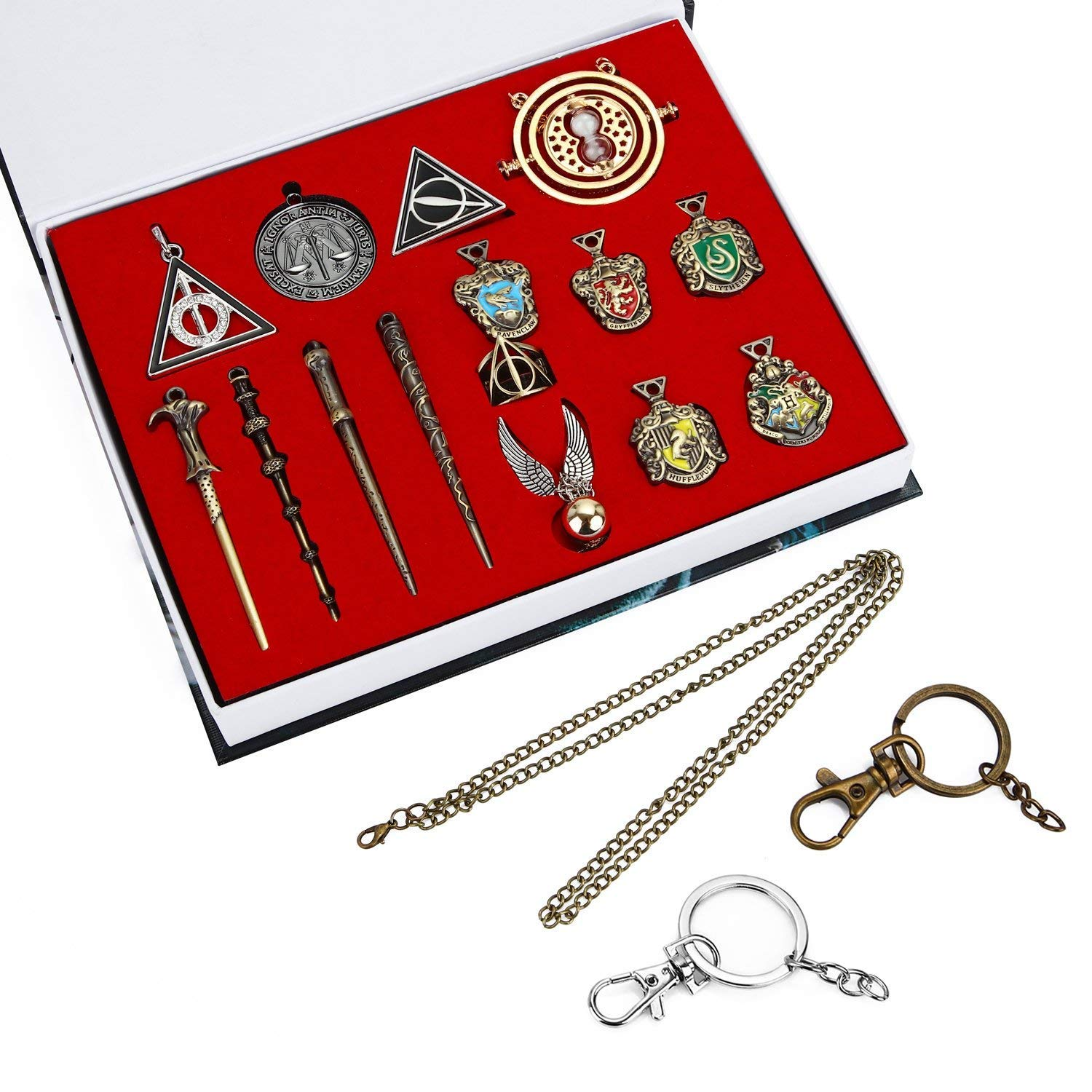 Bescar 15PCS in One Set Magic Wand Hogwarts House Badge in Gift Box with Keychain Necklace (15PCS)