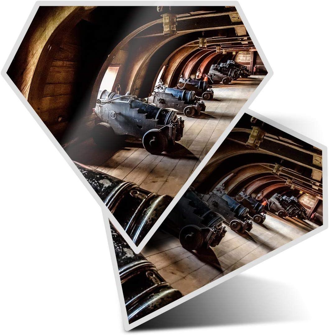 2 pegatinas de diamante de 7,5 cm – Vintage pirata barco galeón pistolas divertidas calcomanías para ordenadores portátiles, tabletas, equipaje, chatarra, neveras, regalo fresco #16158
