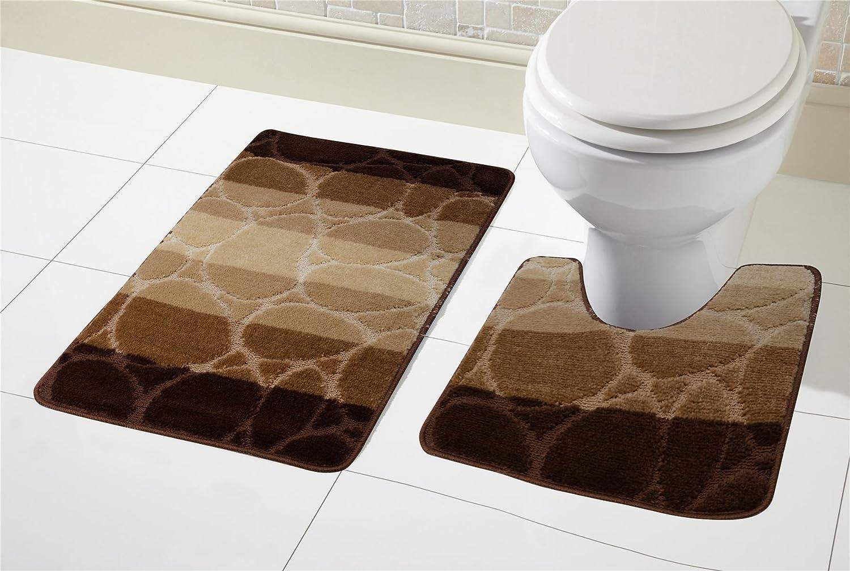 2 Piece Latte Chenille Bath Mat and Pedestal Set non slip back Beige