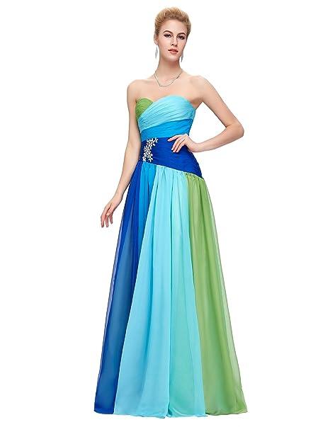 Quissmoda vestido corto largo fiesta, noche, gala, talla 34, color azul verde