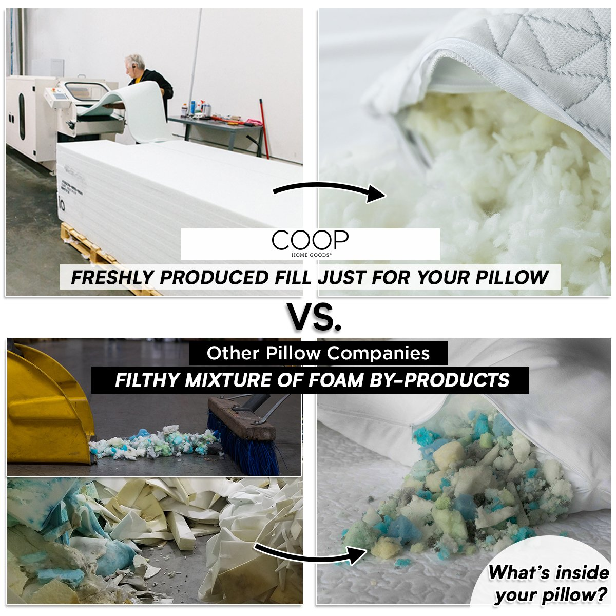 Coop Home Goods Premium Adjustable Loft-Shredded Hypoallergenic Certipur Memory Foam Pillow