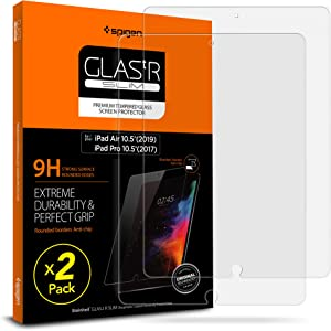 Spigen Tempered Glass Screen Protector Designed for iPad Air 3 (2019) / iPad Pro 10.5 (2017) [9H Hardness/Case-Friendly] (2 Pack)