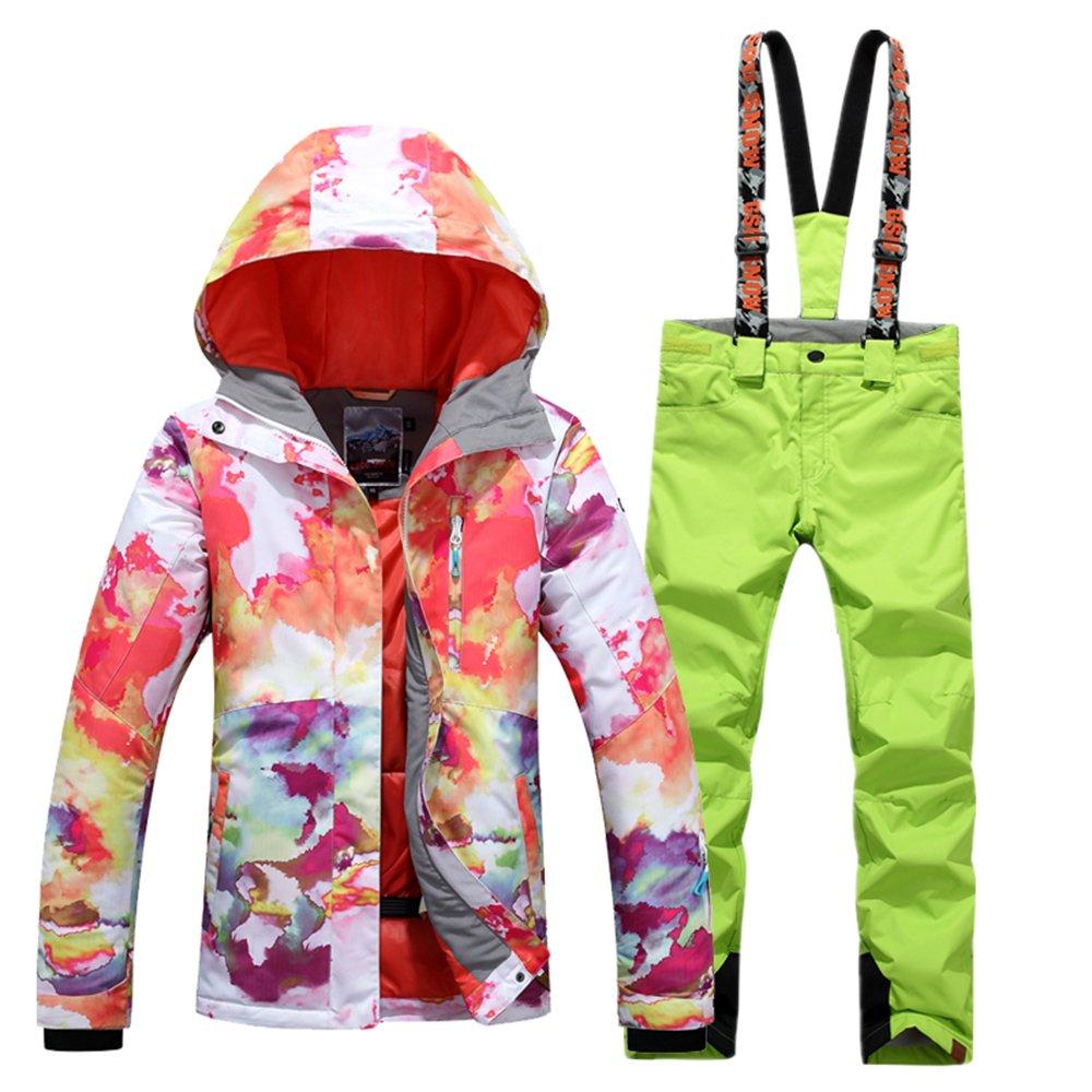 Green Bib Small GsouSnow Women's Girl Waterproof Windprooof Hooded Ski Suit Coat Jackets Bib Pants Trousers Removable Warm Rain Outdoor Insulated Winter